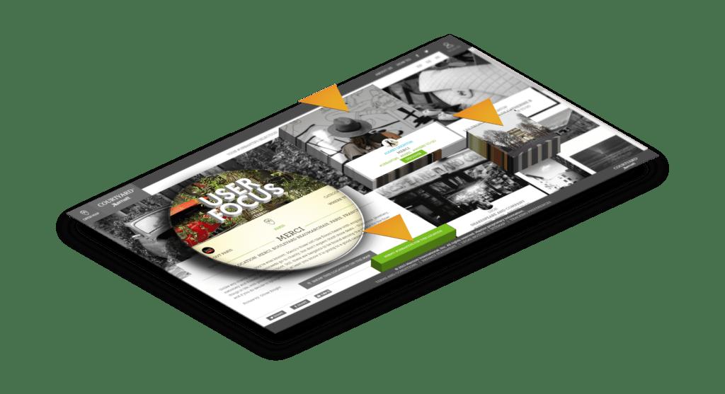 Eine Webseite mit besonderen Bereichen im Fokus
